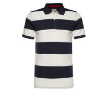 Poloshirt 'shharo Stripe SS Embroidery Polo' dunkelblau / weiß