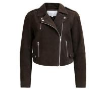Kurze Wildleder-Jacke 'vista Soft Suede Short Biker Jacket' braun / grau