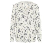 Bluse mit Feder-Muster weiß