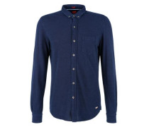 Slim: Hemd in Piqué-Optik blau