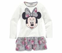 Jerseykleid mit Minnie Mouse Druckmotiv grau / naturweiß