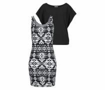 2-in-1-Kleid schwarz / weiß