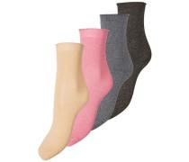 Glitzer-Socken 4-er Pack hellbeige / grau / pink / schwarz