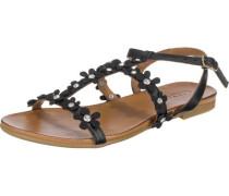 Sandalen mit Blumendetails schwarz