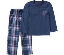 Schlafanzug für Jungen blau / marine / blutrot / weiß