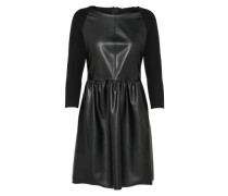 Fake-Leder Kleid schwarz