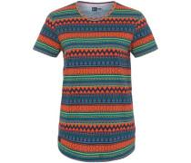 'Native Allover-Print' T-Shirt dunkelblau / grün / dunkellila / orange