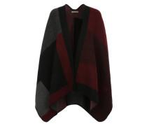Poncho im Blanket-Stil rot / schwarz