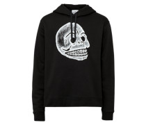 Hoodie 'Pencil Skull' schwarz / weiß