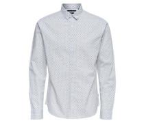 Detailreiches Langarmhemd rauchblau / weiß
