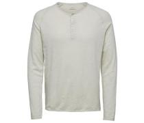 T-Shirt mit langen Ärmeln Split Neck- grau