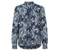 Schluppenbluse mit Allover-Print blau / weiß