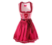 Dirndl kurz mit Borten und Rüschen am Ausschnitt pink