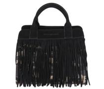 Handtasche mit Fransen hellbeige / schwarz