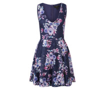 Kleid mit floralem Muster dunkelblau / rosa