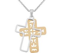 Kette mit Anhänger 'Kreuz' gold / silber