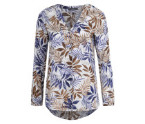Bluse mit All Over-Print rauchblau / schoko / offwhite