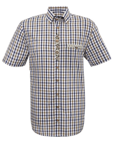 Trachtenhemd creme / navy / brokat