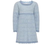Kleid Gestricktes Woll- hellblau / weiß
