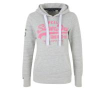 Kapuzensweatshirt 'vintage Logo Injected Jersey Entry Hood' graumeliert / pink