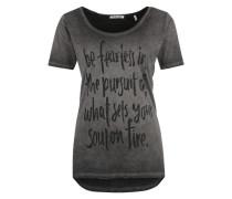T-Shirt mit Spruch-Print grau