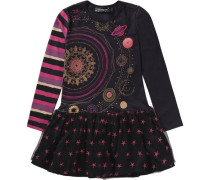 Kinder Jerseykleid Glow in the dark gold / dunkellila / pink / schwarz