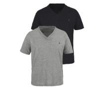 V-Shirt (2 Stück) graumeliert / schwarz