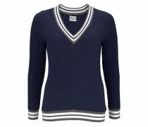 V-Ausschnitt-Pullover marine / grau / weiß
