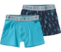 Doppelpack Boxershorts blau / aqua