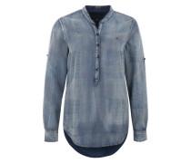 Bluse in Jeans-Optik blau
