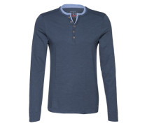 Langarmshirt im Henley-Stil blau