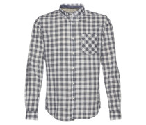 Hemd 'summery slub checked shirt' blau / weiß