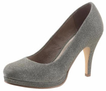 High Heel Pumps mit Plateau platin