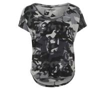 T-Shirt mit überschnittenen Schultern 'Scoop' grau / schwarz