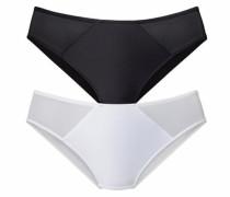 Slip mit leicht transparentem Netzeinsatz (2 Stück) schwarz / weiß