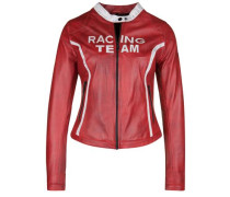 Lederjacke Racing Team rot