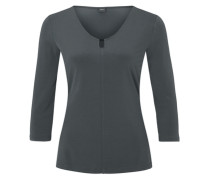 Stretch-Shirt mit Zierausschnitt grau