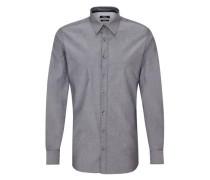 Modern Fit: Hemd mit Muster-Struktur schwarz