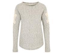 Pullover mit Spitzeneinsätzen graumeliert