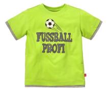 T-Shirt mit Fußballmotiv für Jungen braun / neongrün