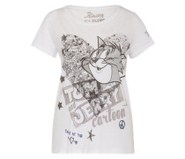 Shirt mit Cartoon Print grau / weiß