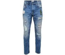 Slim Fit Jeans 'Carrot patch blue' blau
