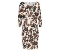 Kleid 'floral Print' creme / bordeaux