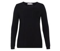Wollpullover mit Seideneinsatz schwarz