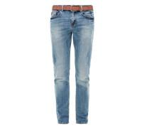Close Slim: Jeans mit Gürtel blue denim
