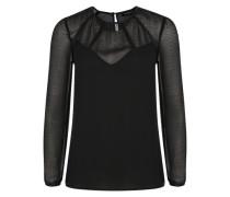 Bluse mit Details in Leder-Optik schwarz