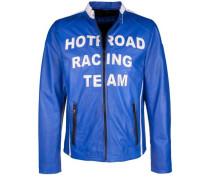 Lederjacke 'hot Road' blau / schwarz / weiß