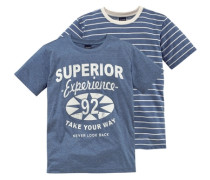 T-Shirt (2 Stück) für Jungen himmelblau / weiß