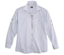 Trachtenhemd mit Krempelärmel blau / weiß