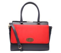 Handtasche in Saffianoleder-Optik navy / rot